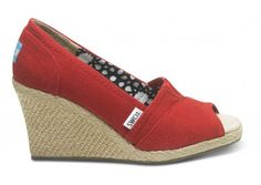 toms red calypso canvas women's wedges . . . saw a girl wearing these at david sedaris @ the long center the other night