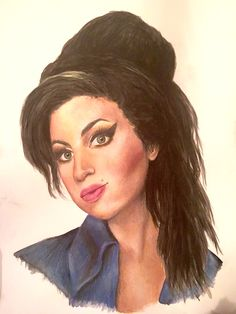 Amy Winehouse - Watercolour paint and pencil, 2016, Victoria Mead   www.vmportraits.co.uk  #winehouse #amywinehouse #artist #portrait #artwork