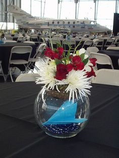 An airplane in the centerpiece- maybe see if we can pay Brandi to make some specific planes with her cricut to go inside? Aviation Wedding Theme, Airplane Wedding, Airplane Party, Wedding Reception, Our Wedding, Dream Wedding, Wedding Stuff, Wedding Ideas, Wedding Centerpieces