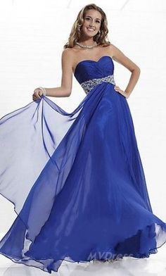 Gorgeous Bridal Stylish Rhinestone Empire Chiffon Evening Prom Gowns 2014 This dress is perfect for any formal occasion. Casual Evening Dresses, Prom Dresses Blue, Event Dresses, Prom Party Dresses, Party Dresses For Women, Junior Dresses, Bridesmaid Dresses, Prom Gowns, Dresses Dresses