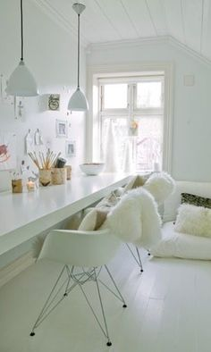 White home office for two
