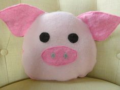 Pig Throw Pillow, Unique Home Decor, Recycled Pillow, Upcycled Home Decor, Pig Cushion, Re-purposed, Pig Soft Toy.