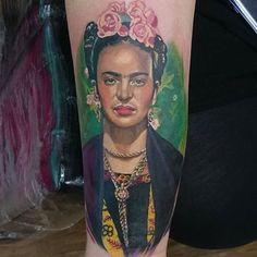 """ lovely Frieda Kahlo portrait by @madamefink  #perfecttattoo #perfectartist #portrait #portraits_ig #portraitsofinstagram #portraittattoo #artist #tattooartist #friedakahlo #colourtattoo #colortattoo #tattoo"" Photo taken by @perfecttattooartists on Instagram, pinned via the InstaPin iOS App! http://www.instapinapp.com (09/12/2015)"