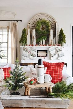 Liz Marie shows off some cozy christmas decor with this Cheerful Living Room. Check how you can add small little pops of decor to get the same look.
