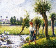 Peasant Woman Watching the Geese, 1890 - Camille Pissarro - WikiArt.org