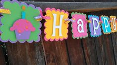Girls Birthday banner in bright colors Candy and by SweetBugABoo, $36.00