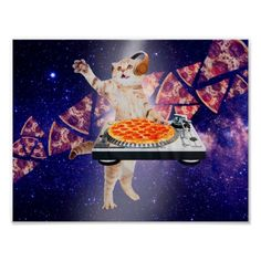 Shop dj cat - cat dj - space cat - cat pizza poster created by RedSamurais. Personalize it with photos & text or purchase as is! Pizza Meme, Pizza Cat, Space Cat, Trippy Cat, Bandana, Pizza Poster, Corner Designs, Jurassic World, Cat Memes