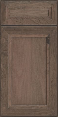 This full overlay, recessed cherry kitchen cabinet door in Baltic stain has a shaker look with a subtle modern flair. Baltic is a lighter, mid-tone grey stain that highlights the natural wood grain.