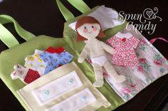The SpunCandy Doll House - Quiet Book - Custom Quiet Dollhouse, Felt Dolls, Fabric Paper Dolls, Handmade Dolls, SpunCandy, Travel Doll House