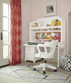 White Collection - Desk with Optional Hutch and Chair by Universal