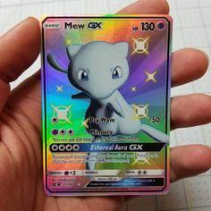 Shiny Mew GX Full Art Rainbow Holo Custom Orica Pokemon Card - Anime and Manga World 2020 Funny Pokemon Cards, Pikachu Pokemon Card, Pokemon Cards For Sale, Old Pokemon, Mega Pokemon, Pokemon Memes, Pokemon Party, Pokemon Fusion, Happy Birthday Pokemon