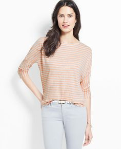 Striped Linen Button Back Top