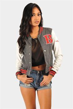 Varsity Blues Jacket - Charcoal
