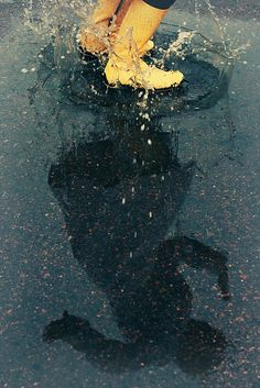 Puddles and Yellow Rain Boots  #boots #yellow #shoes #rain #reflection