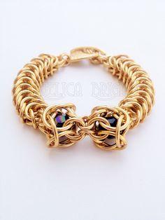 ChainMaille & Swarovski Bracelet by AngelicaBrigade
