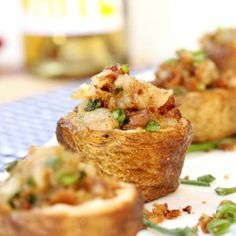 Brown Butter and Bacon Cheese Potato Cups - a delicious appetizer that can be made ahead of time.
