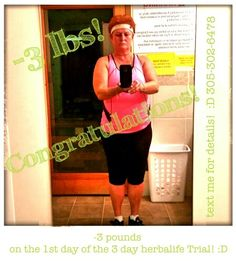 Results> Martha is down 3 pounds on the 1st day of the 3 day herbalife Trial! :D MESSAGE ME FOR DETAILS! :D text 305-302-6478 #mealplans #coaching #tampa #workout #oasiswellnesscenter #OWC #neverquit #fitonabudget #fitboys #dedication#herbalife
