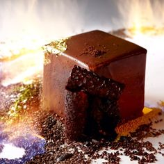 The CUBE, Tonka cream, hazelnut streusel and 66% chocolate mouss. By Nicolas Descriaux