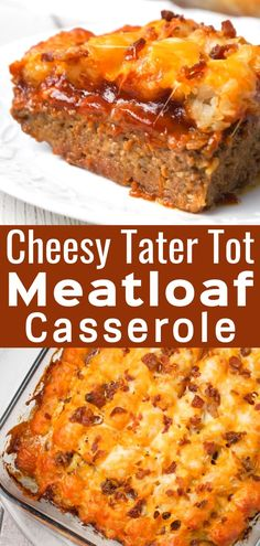 Cheesy Tater Tot Meatloaf Casserole is an easy ground beef dinner recipe with a meatloaf base, topped with a ketchup and bbq sauce glaze, tater tots, shredded cheese and crumbled bacon. dishes Cheesy Tater Tot Meatloaf Casserole - This is Not Diet Food Easy Casserole Recipes, Casserole Dishes, Recipes With Tater Tots, Recipes For Casseroles, Ketchup, Vegan Recipes Easy, Cooking Recipes, Amish Recipes, Kraft Recipes