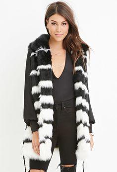Contemporary Striped Faux Fur Vest