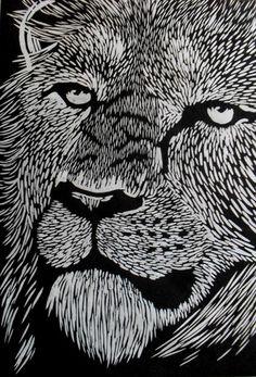 Lion Linocut on Japanese Kozuke paper (44gsm white) by Rowanne Anderson http://www.rowanneanderson.com/ Tags: Linocut, Cut, Print, Linoleum, Lino, Carving, Block, Woodcut, Helen Elstone, Animals
