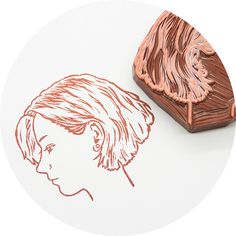 Custom Hand Carved Rubber Stamp of Your Profile