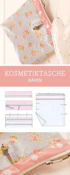 DIY-Nähanleitung für eine Kosmetiktasche mit Reißverschluss / sewing pattern for a cosmetic bag with zipper via DaWanda.com