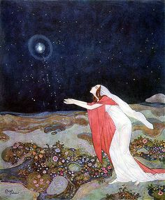Drawing Down the Moon, spring flowers  (Edmund Dulac)