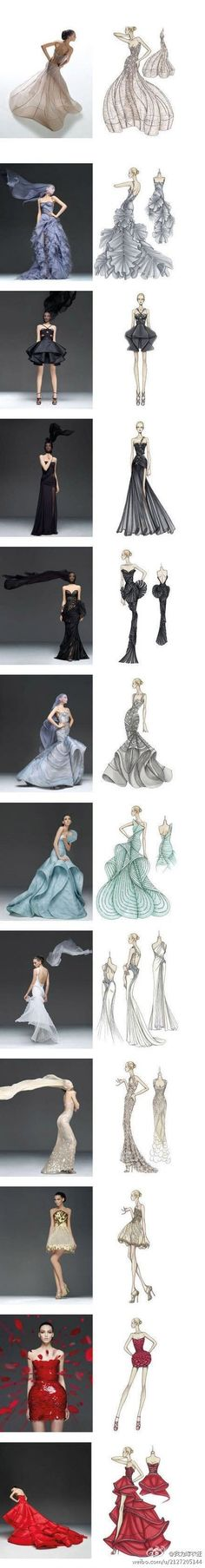 Illustrations and the fashions together. Lovely!