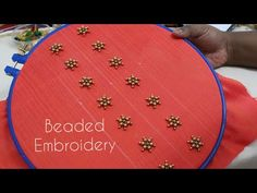 Beaded Embroidery for Kurti / Blouse Neck Kurti Embroidery Design, Aari Embroidery, Hand Embroidery Videos, Bead Embroidery Patterns, Hand Work Embroidery, Flower Embroidery Designs, Simple Embroidery, Embroidery Dress, Embroidery Stitches