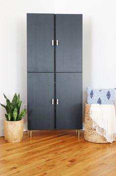 Ivar IKEA Hack-Library Cabinet. Sherwin-Williams Inkwell. Anthropologie Hardware