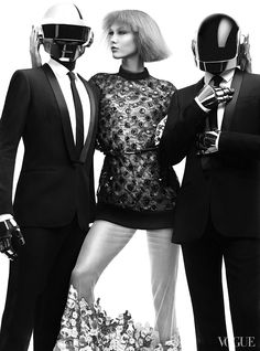 Daft Punk and Karlie Kloss for the August issue of Vogue US