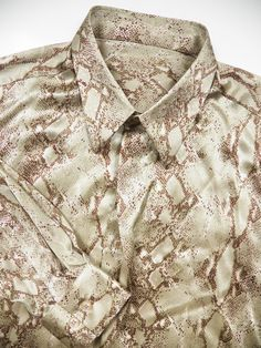 versace cavalli style mens xl 100 silk shirt snake by style1000, $250.00