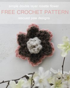 Double Layer Rosette Crochet Flower Pattern :: Rescued Paw Designs www.rescuedpaw.com thanks so for sharing xox  ☆ ★  https://www.pinterest.com/peacefuldoves/