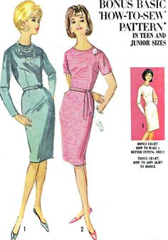 1960s Dress Pattern Simplicity 5654 Long or Short by paneenjerez, $10.00