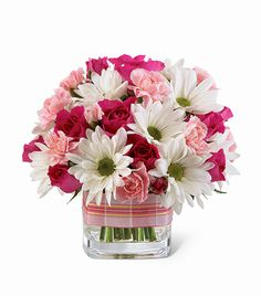 Pink & White Cube Arrangement - Daisies, Roses, and Carnations Spring Flower Arrangements, Beautiful Flower Arrangements, Fresh Flowers, Spring Flowers, Silk Flowers, Floral Arrangements, Beautiful Flowers, Spring Bouquet, White Flowers