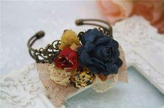 rose filigree bracelet gold leopard rhinestone lace bow by missvirgouk