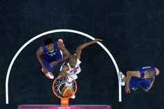 LONDON, ENGLAND - JULY 29:  Kevin Durant #5 of United States dunks the ball against Mickael Gelabale #15 of France during their Men's Basketball Game on Day 2 of the London 2012 Olympic Games at the Basketball Arena on July 29, 2012 in London, England.