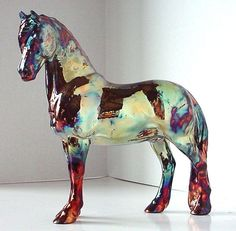 Model Horse Pony Sculpture Raku OOAK  Statue Lumi. $170.00, via Etsy.