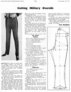 Cutting Military Overalls - The Trouser and Waistcoat Forum - The Cutter and Tailor