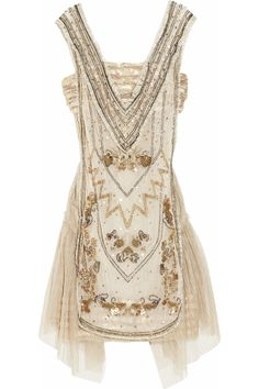 Anna Sui embellished tulle and lace dress