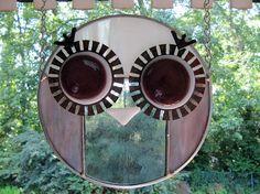 Pink / Grey Owl:  Suncatcher / Stained Glass by ArtGlassInspired