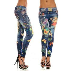 Sexy Washed Jeans Printed Leggings - Rebel Style Shop - Look sexy and toned when you wear this unique pair of leggings. Designed to look and fit like a sexy pair of jeans, you can pair it with a wide range of tops. Perfect with a pair of pumps, this is a must-have for the cosmopolitan woman. #leggings