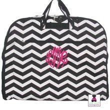 Monogrammed Garment Bag - Black & White Chevron - MISS LUCY'S MONOGRAMS