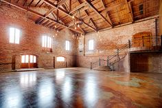 Wedding Venue Ideas Check out The Old Cigar Warehouse, a wedding venue in Greenville, SC. Exposed brick, stained concrete floors and hand made lighting create the perfect Southern setting! Pretty Place Chapel, Warehouse Wedding, How To Make Light, Exposed Brick, Wedding Events, Wedding Reception, Wedding Ideas, Weddings, Reception Ideas