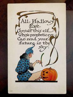True Vintage Halloween Postcard Nash RARE Series H37 Prophetic Eye Of Elf   eBay