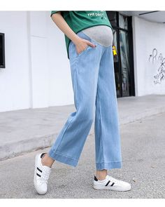 The pregnancy elastic waist maternity wear thin pants with pocket dress is so casuala nd loose you may like it. #maternityskirt #maternitybuttom #maternityskirtoutfits #skirt #maternitybottom #maternitybottomwear #maternitypants #maternitypantsforwork #maternitypantsextender #maternitypantsplussize Maternity Skirt, Maternity Wear, Pregnancy Pants, Linen Pants Outfit, Soft Pants, Straight Leg Pants, Elastic Waist, Mom Jeans, Plus Size