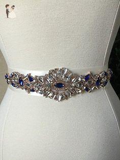 Royal Blue and Rose Gold Bridal Sash - Wedding Dress Sash Belt - Crystal Rhinestone Wedding Sash - Ivory Rhinestone Bridal Sash - Bridal belts and sashes (*Amazon Partner-Link)