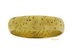 Gold posy ring, 'Content is a continuall tresure', circa 17th - 18th century.