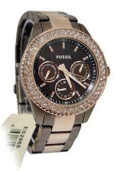 Fossil ES2955 Stella Brown Rose Gold Glitz Two Tone Steel Band Women Watch NEW